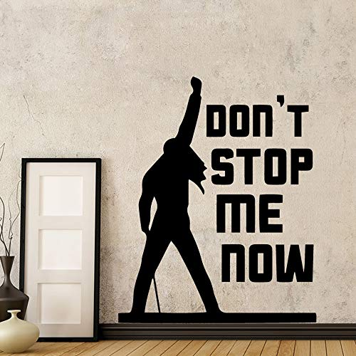 Klassische Freddie Mercury Queen Band Musik Stop Me Now Quote Wandaufkleber Für Wohnzimmer Schlafzimmer Dekor Wandtattoo Wandbild 43X53 cm