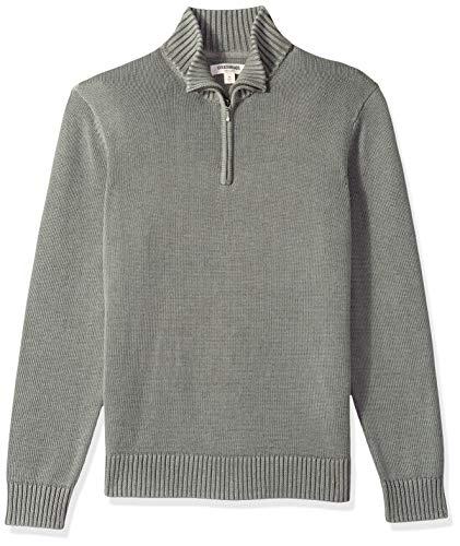 Goodthreads Herren Soft Cotton Quarter Zip Sweater Sweatshirt, Grau (washed grey Wgr), X-Small