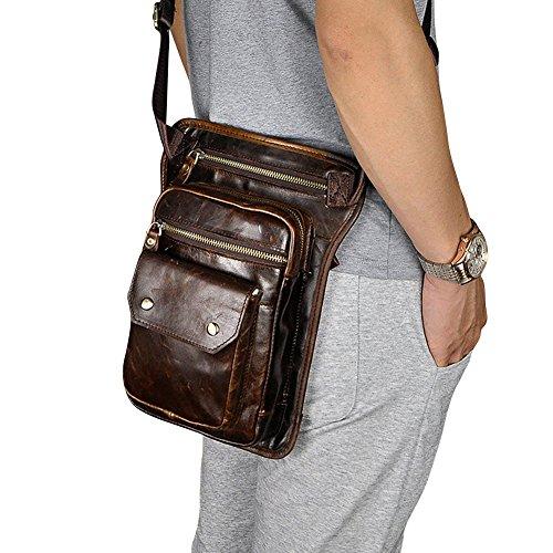 Genda 2Archer Sling Tactical Oberschenkeltasche Echtes Leder Bein Tasche (Style 1 Schwarz) Style 1 Kaffee