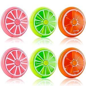Medikament Box Tablettenbox 7 tage Pillendose Rund Tablettendose Klein Pillenbox 7 Fächern Medikamentendosierer 6er Set,2 je Farbe