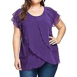 Tops Mujer Manga Corta,Camiseta de Gasa para Mujer Casual Manga Corta Talla Grande Blusa con Volantes sólidos Camisas de Mujer Elegantes de Fiesta