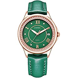Comtex Girl's Watch with Green Leather Strap Roman Numberals Calendar Display