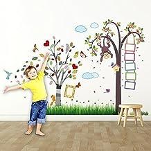 extraíble Autoadhesivo Adhesivos de pared cuarto del bebé mono altura Métrico MARCO FOTOS Mujer Pájaro Hierba
