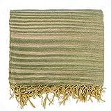 Homescapes Gestreifte Chenille Tagesdecke 220 x 240 cm Sofaüberwurf mit Fransen aus 100% reiner Baumwolle, Bettüberwurf grün