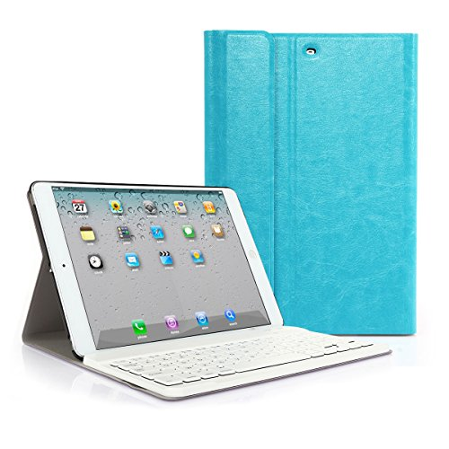 CoastCloud color azul funda Cubierta protectora cuero PU con Teclado Inalambrico QWERTY espanol para iPad mini 1/iPad mini 2 con