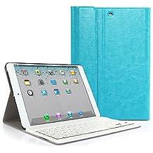 CoastCloud color azul funda Cubierta protectora cuero PU con Teclado Inalambrico QWERTY espanol para iPad mini 1/iPad mini 2 con Bluetooth