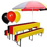Preis am Stiel Set- Sonnenschirm, Luftballons, Bierbank Hussen ''Deutschland'' | Fanartikel | Public Viewing | Gartenparty Dekoration | Fanartikel Deutschland | Fahnen & Flaggen | WM Fußball