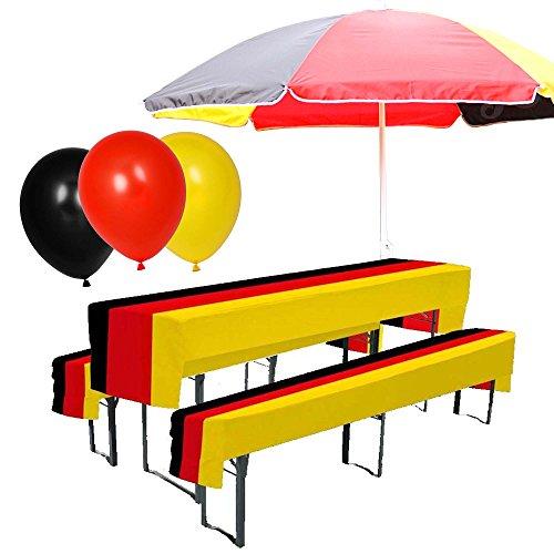 Preis am Stiel Set- Sonnenschirm, Luftballons, Bierbank Hussen ''Deutschland'' | Fanartikel | Public...