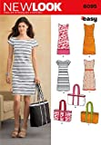 New Look 6095 Size A 10/12/14/16/18/20/22 Misses Dresses and Bags Easy Sewing Pattern, Multi-Colour