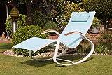 Design-Schaukelstuhl mit Holzgriffen Farbe türkis