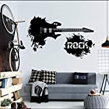 ljmljm Dormitorio de patrón de Guitarra eléctrica de 57x93 cm Negro Personalizado Tallado Pegatinas de Pared Decorativos