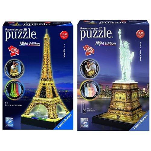 Pack Ravensburger - Puzzle 3D Edition Nocturne - Tour Eiffel 216 Pièces et Statue de la Liberté 108pièces