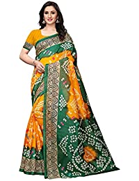 AKHILAM Women's Bhagalpuri Silk Saree with Unstitched Blouse Piece (Multi-Coloured_SONPARI)