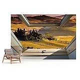 Toskana 3D-Dachfenster-Ansicht Vlies Fototapete Fotomural - Wandbild - Tapete - 520cm x 318cm / 5 Teilig - Gedrückt auf 130gsm Vlies - 10411VEXXXXXL - Wiesen & Landschaft Vergleich