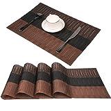 PVC Platzsets für Esstisch Famibay Kunststoff Abwaschbar Tischsets 4er Set Braun Bambus Platzdeckchen Hitzebeständig