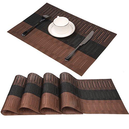 Famibay PVC Platzsets für Esstisch Kunststoff Abwaschbar Tischsets 4er Set Braun Bambus Platzdeckchen Hitzebeständig