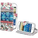 DeinPhone coque de protection pour samsung galaxy s3 mini étui de protection en cuir à rabat de couleur rouge en bois rose/motif fleurs