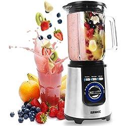 Duronic BL1200 Blender/Mixeur puissant de 1200W en Acier Inoxydable avec Carafe de 1,8 Litre - Idéal pour Smoothies, Milkshakes, Gaspachos, Compotes, Glace pilée, Fruits à coques