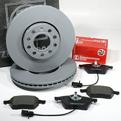 Zimmermann Bremsscheiben Ø 288 mm Coat Z/Bremsen + Bremsbeläge + Warnkabel für vorne/die Vorderachse