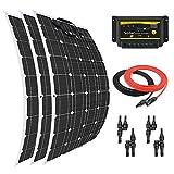 Giosolar Solar Panel 300W Flexibles Solar Panel Kit 3x 100W Flexible Monokristalline Panel + 30A LED Controller + 5m Solar Kabel + 2Paar Y Ast Stecker für Boot Caravan netzferne