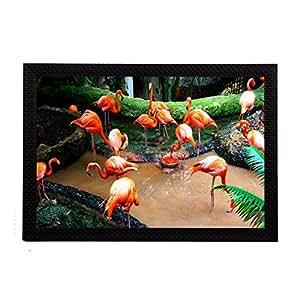 eCraftIndia Flamingos Satin Matt Texture UV Art Painting