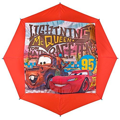 Paraguas Cars Disney - Paraguas para niño de Rayo MC Queen Resistente, antiviento y Largo - Seguro, con Tacos Redondeados y fijos - Apertura automática - 5/8 años - Diámetro 80 cm - Perletti - Rojo