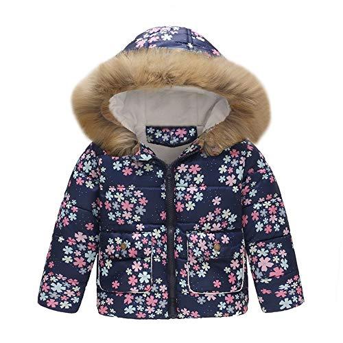 LHWY Toddler Baby Girl Boy Floral Dinosaur Winter Warm Jacket Hooded Windproof Coat with Fur Hood Kids Cloths