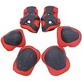 Proteccion Patines Niña, WOLFBUSH 6 PCS Patinaje Accesorios protección para bicicleta de montaña (1 par X Rodilla + 1 par Coudière + 1 par X Protege los Puños) - Rojo