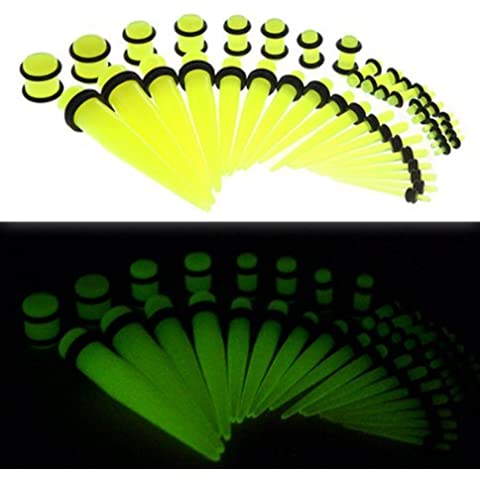 36 Pieces Gauges Kit Yellow Radiant in The Dark Acrylic Tapers and Plugs 14G - 00G Stretching Kit - 18 Pairs by AmericanPro