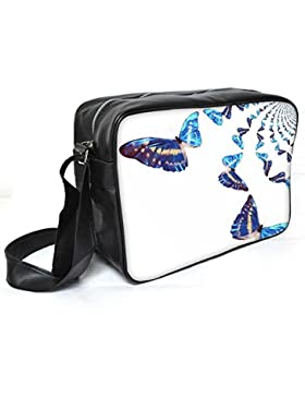 Snoogg Bunte Schmetterlinge Leder Unisex Messenger Bag für College Schule täglichen Gebrauch Tasche Material PU