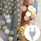 LED Lichterkette mit 20 Kugeln aus Baumwolle, Lichter String 3m Batterie/Strom-Betrieben für Party Weihnachten Hochzeit Feier Garten Terrasse Zimmerdekoration