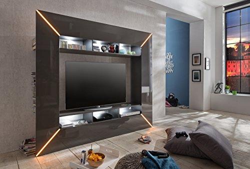 trendteam SC95121 Wohnwand TV Möbel grau Hochglanz, BxHxT 201x180x35 cm - 6