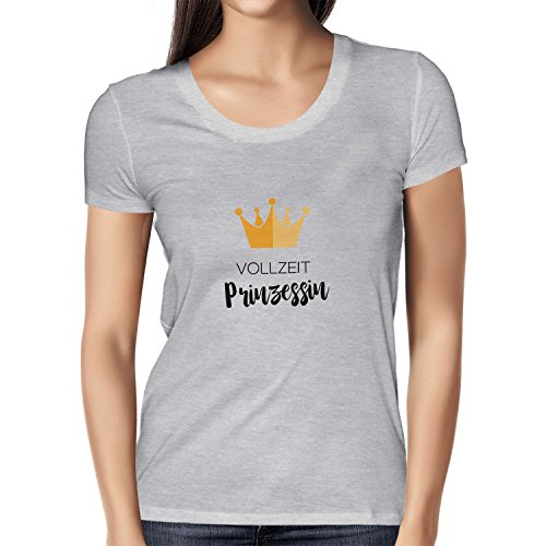 NERDO Vollzeit Prinzessin - Damen T-Shirt, Größe S, Grau ()