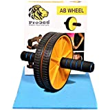 PRO365® Wide Ab Roller Wheel for Abs Workouts/Home Gym Abdominal Exercise/Core Workouts for Men and Women (6 MM Safe Knee Mat, Yellow Roller)