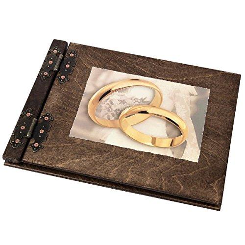 25 Blatt Holz Fotoalbum mit großen Ringen Hochzeitsalbum Ehe Versprechen