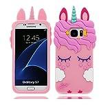 YuanYuZhongPhoneSky Samsung Galaxy S7 Hülle, Mode Niedlichen Cartoon 3D Muster [Stoßfestes Design] Dicke Weiche Silikon Rückseitige Abdeckung Telefon handyhülle für Samsung Galaxy S7, Unicorn Einhorn