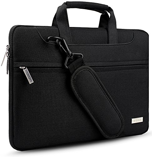 Hseok 3 Vie 15,6 Pollici Borsa Portatile per Laptop Ventiquattrore Custodia a Tracolla Borsetta PC per MacBook Pro 15,4'/ Dell/HP/Lenovo/Acer/Ausu, NoteBook UltraBook Chromebook, Nero