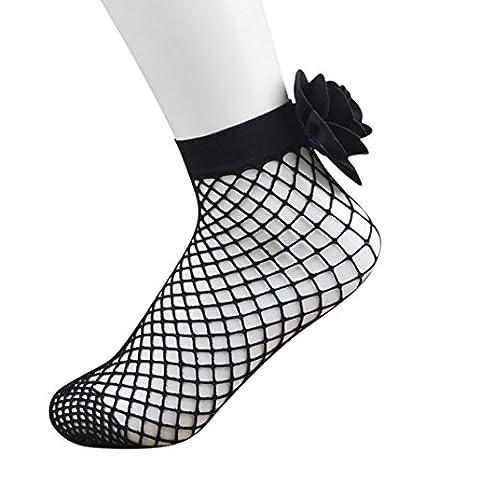 Ularma Femmes Résille Cheville Haute Chaussettes Maille Dentelle Poisson NET Court Chaussettes (noir)