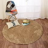 Alfombra redonda pelo alto billar dormitorio dormitorio sala de estar mesa de café colcha de cama ( Color : Camello )