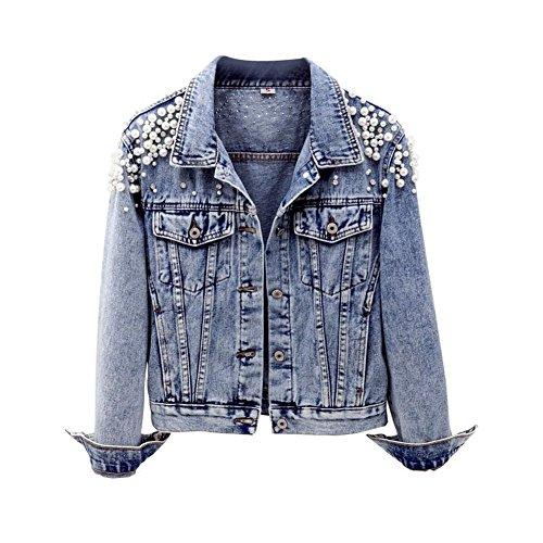 CYSTYLE 2018 Damen Jeansjacke Übergangsjacke Leichte Jacke Denim Casual mit Perle und Dragonfly (Stil 1, EU M=Asia XL)