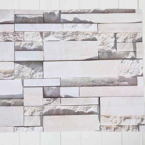 CXZC DIY 3D White Brick Home Dekoration Wandaufkleber Wohnzimmer Schlafzimmer Dekor Schaum, 24 x 20...