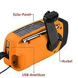 IntiPal FM Solar Radio Solarradio mit Kurbel Kurbeldynamo LED Taschenlampe Notfall Ernstfall USB Handy Ladeger?t Camping Outdoor (Gelb) - 3