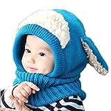 Kfnire Hüte Mützen Winter Baby Kinder Mädchen Jungen Warm Woll Haube Kapuze Schal Caps (Blau)