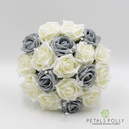 Silk Wedding Flowers Hand-made by Petals Polly, BRIDESMAIDS POSY, GREY & IVORY ROSES