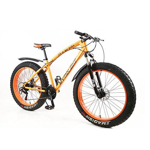 MYTNN Fatbike 26 Zoll 21 Gang Shimano Fat Tyre Mountainbike Gold 47 cm RH Snow Bike Fat Bike (Orrange)