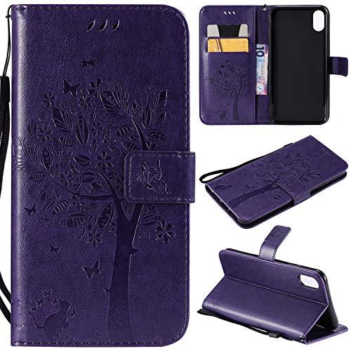 Artfeel Flip Brieftasche Hülle für iPhone XS, iPhone XS PU Leder Lila Hülle Geprägt Baum Schmetterling Blume Muster,Bookstyle mit Kartenfächer Magnetisch Stand Handyhülle