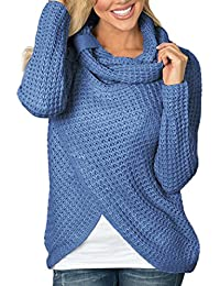 Overdose Women Sweaters Casual Cowl Neck Chunky Cable Knit Wrap Pullover