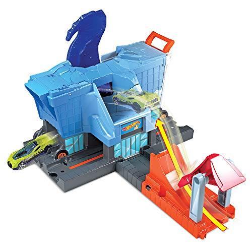 Mattel- Hot Wheels-T-Rex Ataque a la Ciudad, Pistas de Coches de Juguetes niños +4 años GBF92