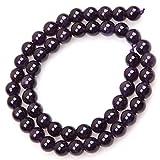 TrifyCore Cuentas de Piedras Preciosas de Amatista Cuentas de Piedras Redondas Naturales para la fabricación de Joyas DIY Perlas de 8MM Alrededor de 50 Piezas