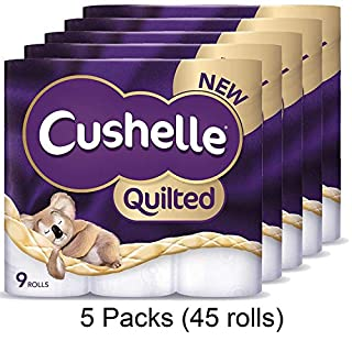 Cushelle Quilted 9 Roll Toilet Roll Tissue Paper (5 Packs (45 Rolls))